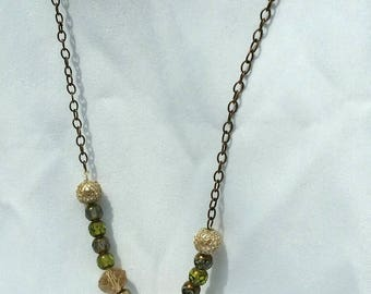 chain and faceted bead necklace, Green/amber/antique copper necklace, faceted beads, gift for her