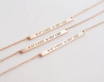 Custom Coordinates Necklace Latitude Longitude necklace Location GPS Coordinates Bridesmaid jewelry