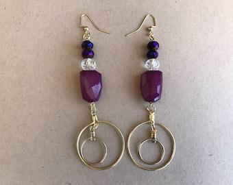 gold earring,gold beaded earring,beaded earring,purple earring,long earring,pierced earring,drop earring,dangle earring,earrring