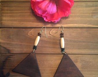 Long earrings, earrings,earring, brown earring,jewelry,triangle,wooden earrings,drop earrings, dangle earrings