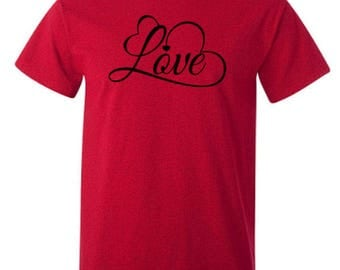 Love w/Heart Flourishes Valentine's Day Adult Unisex Tshirt