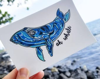 Whale Sticker, Laptop Sticker, Vinyl Sticker, Humpback Whale, Whale Print, Puns, Stickers, Cooler Stickers, Cute Stickers, Whale Nursery