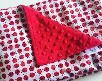 Baby Girl Bassinet Pram Minky Blanket - Ladybirds - baby shiwer gift