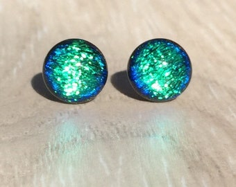 Dichroic Fused Glass Stud Earrings - Green Dichroic with Sterling Silver Posts