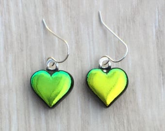 Dichroic Fused Glass Earrings - Yellow Green Heart Laser Engraved Etched Earrings with Solid Sterling Ear Wires
