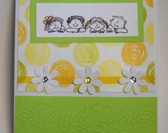 Thank you greeting card,boys and girls card,flower card ,handmade card ,green and yellow card