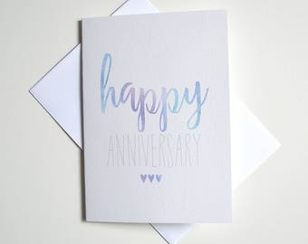 Greeting Card - Watercolour Happy Anniversary