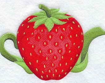 Strawberry Teapot (7 x 5) Iron-on Patch // Iron on Patch // Embroidered Patch // MADE TO ORDER