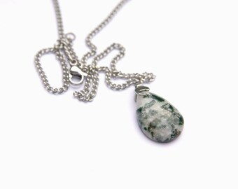 Moss Agate Pendant, Moss Agate Necklace, Stainless Steel Chain, Moss Agate Jewelry, Energy Healing, Crystal, Moss Agate stones, Reiki