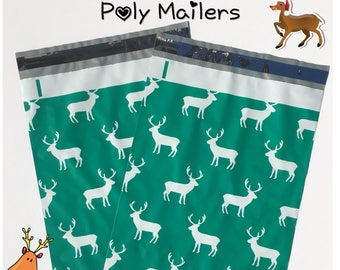 "FREE SHIPPING! (25-400 Pack) 10x13"" Reindeer Designer Poly Mailers"