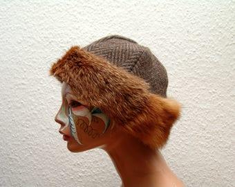 CAP, middle age, Viking, Rus, fur Fuchs Genuine, Gr. 60, wool burr, linen