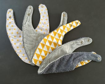set of 4 bibs bandanas grey and yellow