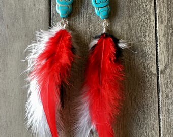 Turquoise Owl Feather Earrings