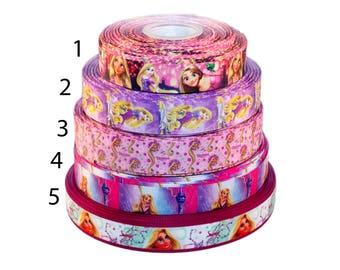 """Rapunzel 1"""" 25mm Grosgrain Ribbon per meter select design"""