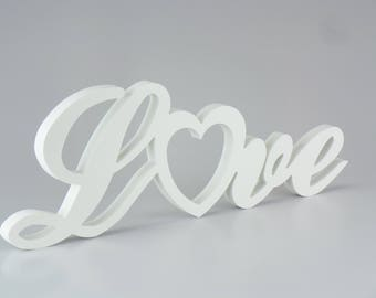 Free Standing Home Decor LOVE Plaque (with heart) Table Centre Piece, Wedding Birthday Anniversary Party Gifts