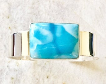 AAA Larimar and Sterling Silver Cuff Bracelet
