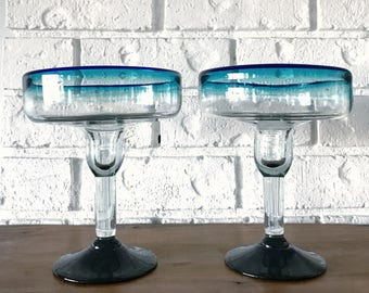 Vintage Cobalt Blue Rimmed Mexican Margarita Hand Blown Glasses