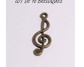 set of 10 charms music treble clef bronze (T07)