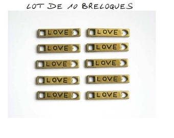 Set of 10 engraved connector charms love heart bronze (T46)