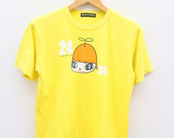 Vintage 24 HOUR TELEVISION Yellow Tee T Shirt Size L