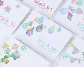 Katachi Japanese Seal Masking Tape Stickers ~ Flower Heart Drops Clover Sea Shells Flags Decorative Sticker, Planner, Scrapbook, Stationery