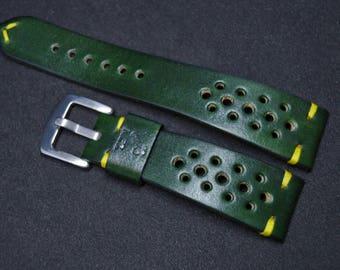 Green Rally Racing Watch Strap/ Full-grain cowhide leather wrist watch band/ handmade/genuine leather/ custom/ 19mm 20mm 21mm 22mm 23mm 24mm