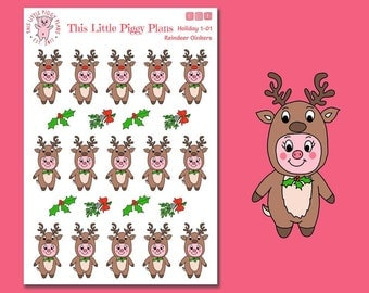 Reindeer Oinkers - Reindeer Planner Stickers - Christmas Planner Stickers - Christmas - Holiday Stickers - Mistletoe - [Holiday 1-01]