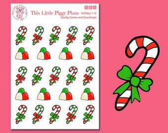 Candy Canes and Gumdrops Planner Stickers - Candy Canes - Gumdrops - Christmas Candy Stickers - Holiday Treats - [Holiday 1-12]