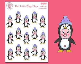 Penguin Suit Oinkers - Penguin Planner Stickers - Pig Planner Stickers - Winter Stickers - Animal Stickers - Bird Stickers - [Misc. 1-57]