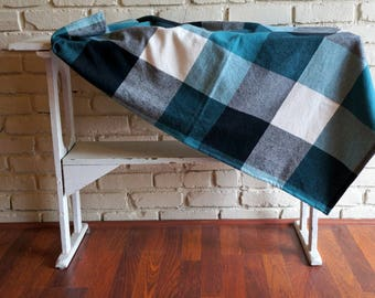 Teal Plaid Flannel Baby Blanket - Receiving Blanket - Receiving Blanket - Nursing Blanket - Baby Neutral Shower Gift under 20