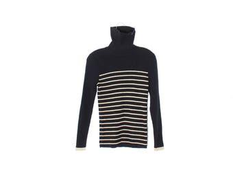 Rad RLR Sweater TOP / striped sweater turtle neck sweater  turtleneck striped knit sweater 90s clothing 90s grunge/black and gold metalic