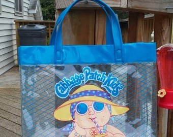 1985 Cabbage Patch Kids beach bag vintage very cute clear with blue handles