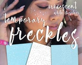 Temporary Freckles Iridescent, White, and Silver - Rave EDC festival Holographic freckle tattoos star planets universe makeup - JulesDiaries