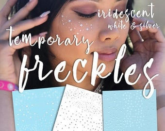 Temporary Freckles Iridescent, White, and Silver - Rave EDC festival Holographic freckle tattoos unique makeup - JulesDiaries Skin Sprinkles