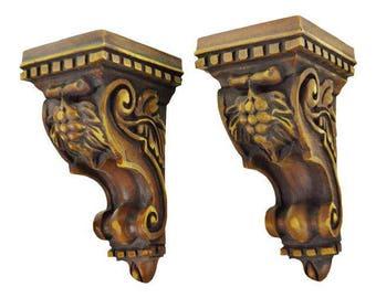 Vintage Decorative Carved Wood Look Corbels - A Pair