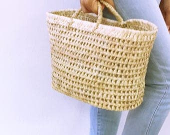 Palm Basket with handles // French style basket // Eco friendly // Sustainable Shopping bag // WEAVE BASKET //home decoration
