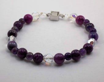 Amethyst Stone Beads, Purple Beads, Semi Precious Stones, Beaded Bracelet,