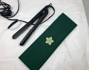 Hair straightener / Curling Iron Case with green flower