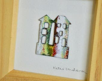 Enamelled picture, two houses enamelled on copper.