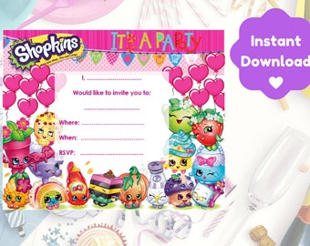 Shopkins Birthday Invitation, Print and Personalise At Home, Instant Download, Invite NOT Editable on Adobe Reader