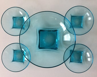 60s Hazel Atlas Capri blue glass serving bowls Made in USA Colony range Mid century modern Vintage glass