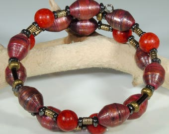 Crimson Band (Upcylced Paper Bead Bracelet/HPBW0009)