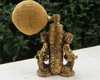 Vintage Gold Ormolu Cherub Atomizer, Cherub Perfume Decanter