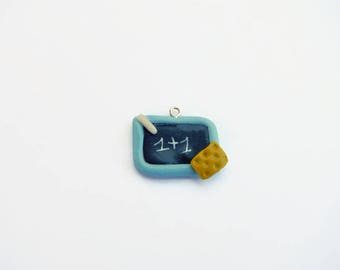 Slate charm school with sky blue polymer clay