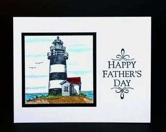 Father's Day Card, Lighthouse Card, Handmade Card, Greeting Card, Masculine Card, Card For Dad
