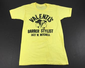 Vintage 70s Valenti's Barber Shop t-shirt mens M Milwaukee