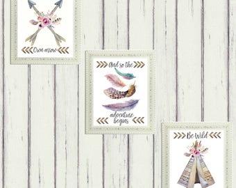 Tribal Boho Nursery Print Set//Printable Art//Baby Shower Gift//Baby Girls Room