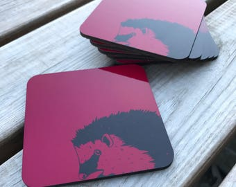 Cerise, hedgehog hardwood cork backed coasters 95mm x 95mm (pack of 6)