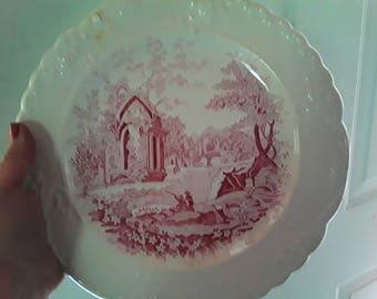 English Abbey Pink Transferware Plate