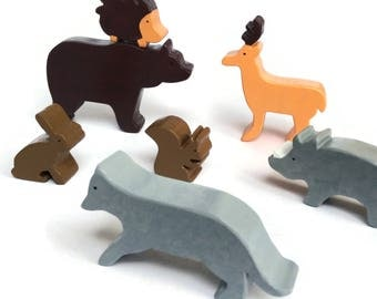Set of forest animal wooden toys - waldorf figurines - gift for boys and girls - montessori toys with bear, hedgehog, hare, deer, wolf, boar